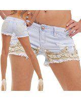 bestyledberlin Damen Jeans, Hotpants, Damenshorts, kurze Jeansshorts destroyed mit Gürtel - Tuch j51e: Amazon.de: Bekleidung