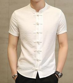 4a5100690cebf New Men s Fashion Brand Cotton Linen Short Sleeve Kung Fu Shirt  Classicalliligla