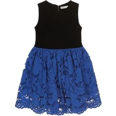 Alice + Olivia Jersey panel floral lace kids pouf dress ($195) ❤ liked on Polyvore featuring dresses, jersey dresses, floral dresses, blue jersey, star dress and floral print dress