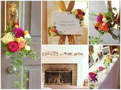鮮やかなピンク、パープル、イエロー、オレンジを使った夏の会場装花。 お花もダリアやバラなど色も形も違うものをミックス。 派手に感じる色合いでも、空間をあけて並べたりグリーンを加えることで、うるさくならずにまとまります。  ◆  kukka design ◆ 東京・三軒茶屋にあるウェディングフラワーのオーダーメイドアトリエ http://www.kukka-flowers.com