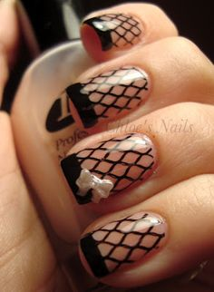 Fishnet French Manicure with Bow