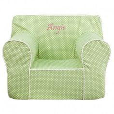 Flash Furniture Dg-lge-ch-kid-dot-grn-txtemb-gg Personalized Oversized Green Dot Kids Chair With White Piping Baby Nursery Furniture, Nursery Room Decor, Kids Furniture, Bean Bag Lounger, Bean Bag Chair, Childrens Bean Bags, White Leather Dining Chairs, White Chairs, Kids Seating