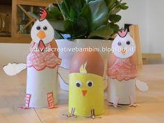 Gallina, Gallo e Pulcino portauovo per Pasqua realizzati con rotoli di cartone