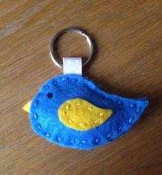 Bird shaped felt key ring