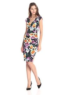 Nicole Miller Rosa All Over Rayon Lycra Jersey Dress, Black/Multi - http://www.womansindex.com/nicole-miller-rosa-all-over-rayon-lycra-jersey-dress-blackmulti/