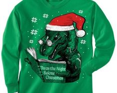 TODDLER Christmas sweater Tee -- Dinosaur reading book T REX - long sleeve t shirt - kids toddler youth sizes skipnwhistle Toddler Christmas Dress, Christmas Dresses, Toddler Dress, Christmas Sweaters, T Rex, Toddlers, Youth, Reading, Book
