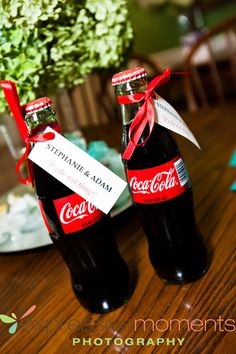 We are loving this adorable coke bottle favor idea from a Plan it With Love wedding! Very cost effective and very cute! Click the image link to call them today about coordinating your wedding. Image credit: Expressive Moments Photography.