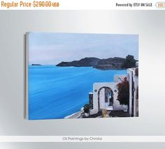 SANTORINI painting-Easter gift on sale-Greek Island-18x24i-blue-Sea-hand painting-Wall decor-handmade-greece-stretched canvas-art-canvas oil painting wall decor santorini painting island santorini santorini island santorini in greece oil painting canvas illustration santorini art greek island santorini canvas greek art Easter gift on sale 203.00 USD #goriani