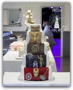 Hääkakku. Double sided wedding cake. Marvel, Star wars, World of warcraft, Harry potter