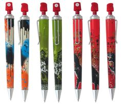 We've found some unique stockings for your holiday display area. Vintage Pens, Rollerball Pen, Pen And Paper, Stocking Stuffers, Stationery, Stockings, Retro, Creative, Gifts