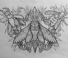 Really awesome drawing of a chest tattoo Throat Tattoo, 1 Tattoo, Sternum Tattoo, Tattoo Flash, Hai Tattoos, Kunst Tattoos, Tattoo Sketches, Tattoo Drawings, Cicada Tattoo