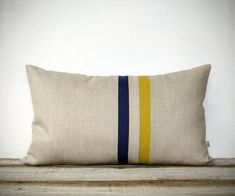 Mustard Yellow and Navy Striped Pillow - 12x20 - Modern Home Decor by JillianReneDecor - Colorful Colorblock Stripes - Golden Honey Gold
