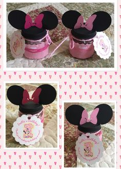 Upcycled Baby Food Jars to Minnie Mouse Birthday Favors
