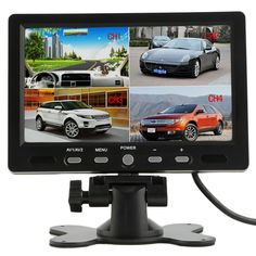7 Inch 4 Split Quad TFT LCD Display DC 12V Car Rear View Headrest Monitor For DVD Reversing Camera