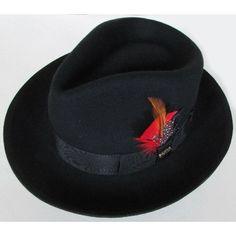 Men Black Australian Wool Winter Fashion Dress Fedora Hats SKU-159006