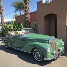 Feeling Lucky? 1953 Mercedes-Benz 220A Cabriolet Green with brown interior.  Manual transmission, single Solex carburetor, Personalized license plate,  Custom fitted luggage and more. $135,000 Beverlyhillscarclub.com Daimler Ag, Daimler Benz, Beverly Hills Cars, Brand Assets, Brown Interior, Classic Mercedes, Manual Transmission, Luxury Cars, Mercedes Benz