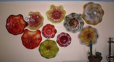 Exceptional set of 6 custom blown Wall Platters