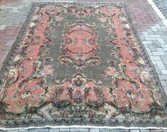 Gebied tapijt Vintage hand geknoopt tapijt vaal door PocoVintage