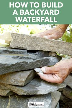 Build this attractive backyard waterfall in less than a day. It's simple to build and you can easily customize the waterfall to fit with the materials and d Backyard Water Fountains, Diy Water Fountain, Diy Garden Fountains, Ponds Backyard, Backyard Waterfalls, Garden Ponds, Outdoor Fountains, Koi Ponds, Rock Fountain