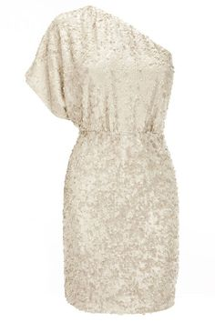 White, off the shoulder , sequined, christmas party dress.