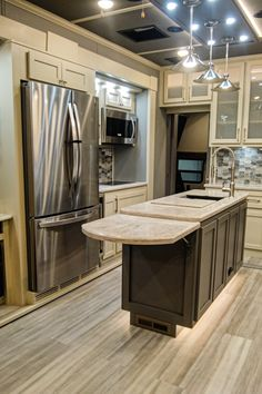 Get some extra prep and serving space with this flip up counter. Fifth Wheel Living, Luxury Fifth Wheel, Luxury Rv, Rv Living, Counter, Space, Kitchen, Design, Home Decor