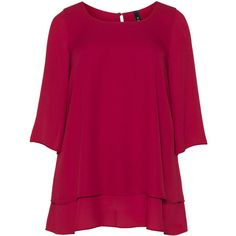 Manon Baptiste Bordeaux-Red Plus Size Layered chiffon top (8.480 RUB) via Polyvore featuring tops, blouses, plus size, pink top, women's plus size tops, plus size 3/4 sleeve tops, red blouse и plus size chiffon tops