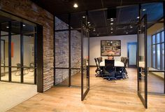 Brick as conference room accent wall
