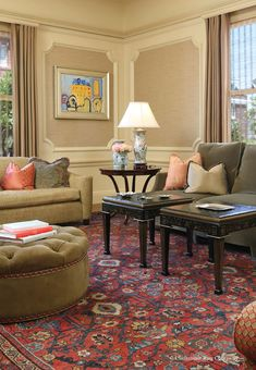 Oversize Antique Persian Sultanabad Carpet Enhances Intimacy of Eclectic Living Room