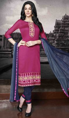 USD 26.00 Pink Cotton Churidar Suit 48443