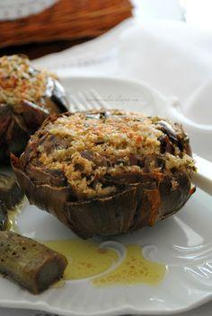 Carciofi ricchi (ripieni, gratinati e filanti) Polenta, Salad Recipes, Healthy Recipes, Light Recipes, Fruits And Veggies, Meatloaf, Bruschetta, Baked Potato, Side Dishes
