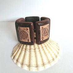 """Celtic pagan handmade big protection bracelet, Wicca Witchcraft big bracelet gift idea, Tree of life Triquetra Magic arrey, Pentacle bracelet, Celtic rune big bracelet for her, Pagan jewelry gift, TemptedByArtJewelry, Unique unusual stretch bracelet,"""
