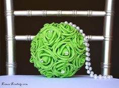 LIME GREEN Kissing Ball with Rhinestone Pins And by KimeeKouture