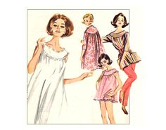 1960s Butterick 2198 Lingerie Coordinates Vintage Sewing Pattern Brunch Coat, Babydoll Pajamas, Nightie, Smock and Pencil Pants Bust 32 on Etsy, $9.95