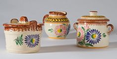 French vintage pottery Quimper small three piece condiment set for mustard, salt, pepper, jam, mayonaise. $60.00, via Etsy.