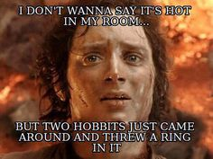 Hobbit humor I wouldn't say it's hot in my room. Funny Shit, The Funny, Funny Stuff, That's Hilarious, Daily Funny, Chat Facebook, It's Over Now, J. R. R. Tolkien, E Mc2