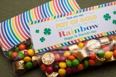 Rolos and skittles or m snack baggies  the kids made these to hand out to people for St Patricks Day but instead of the cardstock label, we printed out an Irish blessing and included it in the baggie--RM