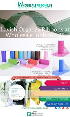 Lavish Organza Ribbons at Wholesale Ribbons US  Wholesale Ribbons Us offers organza ribbons in attractive look fabric that are perfect for party wedding dresses and venue décoration, holiday parties, gift wrapping at affordable rates.