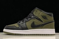 d942bc3a13e Air Jordan 1 Mid GS Olive Canvas/Black-White 554725-301