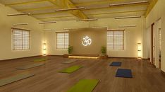 Yoga Studio Design, Yoga Studio Interior, Yoga Studio Home, Yoga Studio Decor, Tanzstudio Design, Design Ideas, Japan Design, Yoga Room Decor, Yoga India