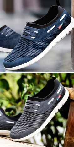 Men Mesh Fabric Breathable Sweat Absorbing Wearable Slip On Sneakers is part of Sneakers men fashion - High Heel Sneakers, Slip On Sneakers, High Heels, Sneakers Fashion, Fashion Shoes, Mens Fashion, Hot Shoes, Men S Shoes, Casual Trainers