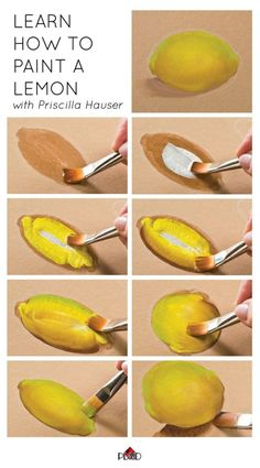 learn how to paint a lemon with priscilla hauser super easy step by steps plaidcrafts diy 2 Painting Lessons, Painting Tips, Lemon Painting, Painting Flowers, Spray Painting, Painting Art, Art Lessons, Pintura Graffiti, Learn To Paint