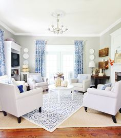 These homeowners created two seating areas in their grand living ...