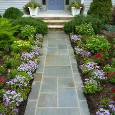 Bluestone Walkway - Walkway Ideas - 15 Ideas for Your Home and Garden Paths - Bob Vila Front Walkway Landscaping, Front Yard Walkway, Outdoor Walkway, Brick Walkway, Concrete Walkway, Backyard Landscaping, Landscaping Ideas, Walkway Ideas, Walkway Designs