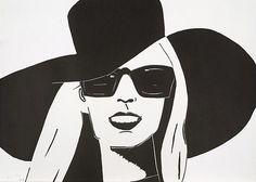 Black Hat (Nicole) by Alex Katz Collages, Alex Katz, Collaborative Art, Arte Pop, American Art, Art For Sale, Pop Art, Auction, Fine Art Prints