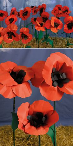 Field of poppies paper craft - these would make a really striking display for Remembrance Day