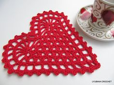 crocheted red heart.