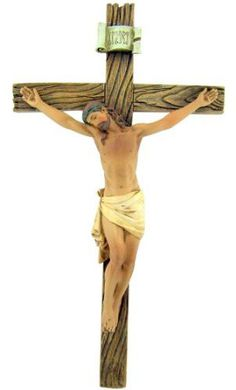 Catholic 8 Inch Stone Resin Jesus Christ on INRI Cross Wall Crucifix Home Chapel Decoration