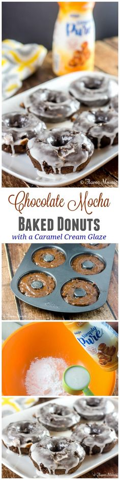 Chocolate Mocha Baked Donuts with a Caramel Cream Glaze make a sweet and delicious breakfast, and when paired with a cup of hot coffee, get you energized for the morning and the rest of your day. #IDSimplyPure #ad ~ http://FlavorMosaic.com