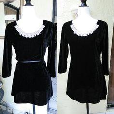 Black velvet top Black velvet top from La Vanya. New with tags, size medium. 3/4 sleeves, jeweled at neckline. la vanya Tops Blouses
