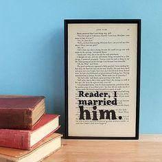 Jane Eyre Wedding Gift Quote on Vintage Book Page Framed Altered Book Art. via Etsy. my favorite! Wedding Quotes, Wedding Book, Wedding Gifts, Wedding Bells, Wedding Stuff, Dream Wedding, Library Wedding, Wedding Ideas, Perfect Wedding